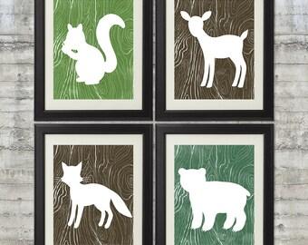 Woodland Nursery Art , Forest Nursery Art, Forest Animals, Little Critters - set of 4 -  8x10 Giclee Prints