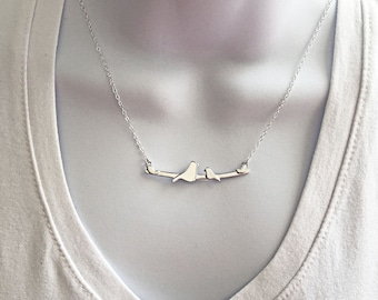 Bird Necklace, New Mom Necklace, Mother Bird Necklace, New Mommy Gift, Mom and Baby, Gift for Mom, Bird Necklace Silver