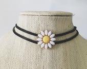 Chamomile Choker — daisy crystal black suede leather lace Swarovski handmade adjustable festival nashville summer bride boho hippie