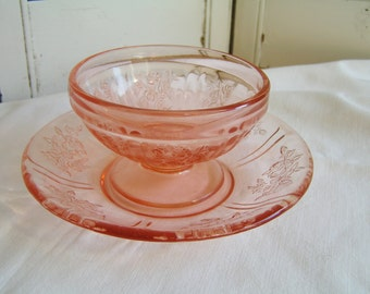Vintage 30s Federal Glass Pink Depression Glass Sherbet with Saucer in the Sharon or Rose Pattern Pink Floral Depression Glass