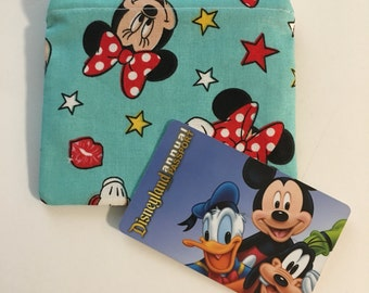 SALE! MINI Disney-Inspired Minnie Mouse Turquoise Handmade Fabric Small Zipper Pouch/Coin Purse