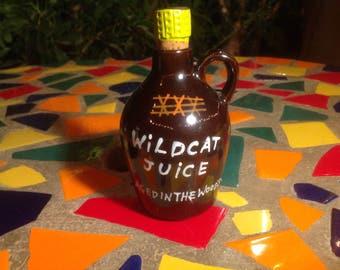 Vintage red clay brown jug decanter with cork- Victoria, Japan