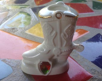 Vintage ceramic souvenir cowboy boot with spur toothpick holder- New Mexico