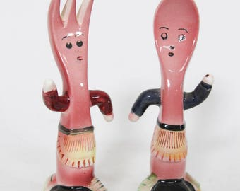 Cute Kitsch Anthropomorphic Fork and Spoon Salt and Pepper Shakers, Made in Japan