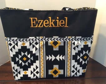 Personalized Diaper bag, tote bag, made with Black, gold, white tribal Aztec print fabric