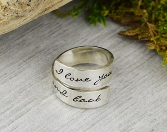 I Love You To The Moon And Back Wrap Ring // Handstamped Jewelry