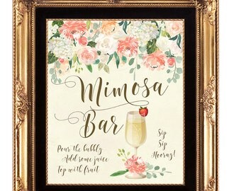 mimosa bar sign, printable mimosa Bar sign, digital mimosa sign, bridal shower mimosa sign, floral mimosa sign, 8 x 10, YOU PRINT