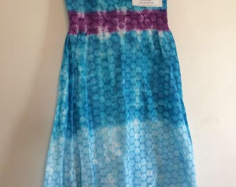 "Old Navy size 4 strapless dress with eyelet detail. Tie dyed in turquoise ombré with purple. 32"" top to bottom."