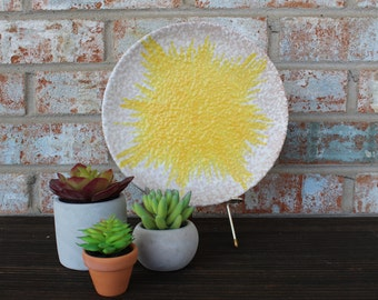 Vintage Yellow Burst Italian Plate