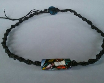 Hemp Necklace With Polymer Clay bead