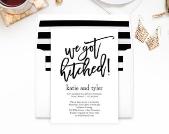 Wedding Reception Party Invitation with Bonus Envelope Liner - BRUSHED We Got Hitched - Editable PDF Template - Printable Invitations