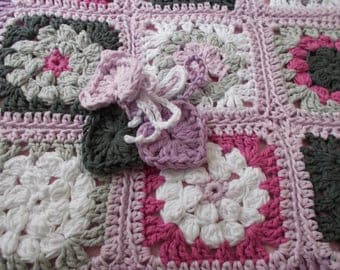 Cover baby crib or pram crochet cotton made.