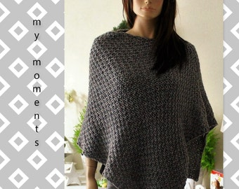 PONCHO Wool / Alpaka medium gray melange