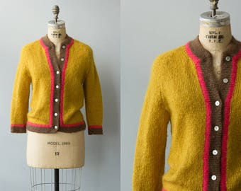 Milano cardigan | Vintage 1960s mustard and pink mohair sweater | Hand knit mohair
