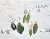 Spring Assymmetrical Dangle green earrings. Acacia and Fittonia