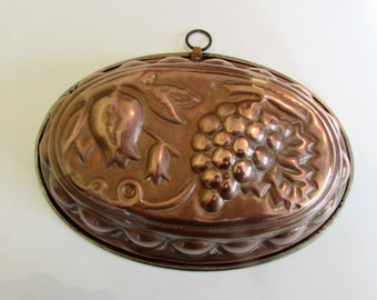 Large Antique/Vintage French Style Copper and Brass, Lined Jelly Mould Or Wall Hanging Plaque - Fruit Decoration /MEMsArtShop