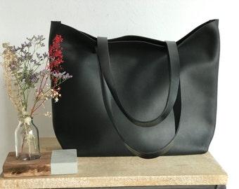 Large Black Distressed Leather bag. Premium waxed leather. Handmade