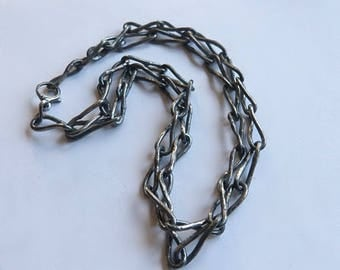 Gift for women , chain necklace ,raw sterling silver , silver chain ,  industrial ,modernist brutalist , collar