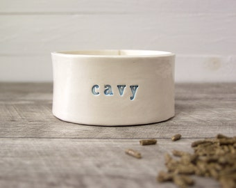 Cavy Crock.  Hand-Built Guinea Pig Pellet or Water Dish. Guinea Pig Food Bowl. In Blue.