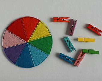 Felt Color wheel 11cm diameter with colorful Pegs and/or Trinkets, Rainbow color sorting