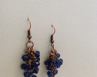 Amythist Catherdral Czech Glass Cluster Earrings