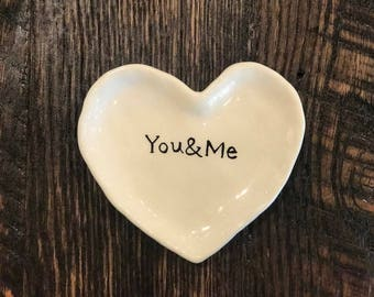 You & Me Ring Dish Wedding Gift Bridal Gift Anniversary Gift Heart Dish Heart Ring Dish