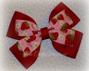 Strawberry Hair Bow ~ Red & Pink Bow ~ Red Hair Bow ~ Large Red Bow ~ Large Strawberry Bow ~ Strawberry Headband Bow ~ Pink Strawberry Bow