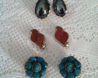 Trio Of Vintage Clip On Earrings