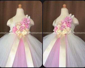Flower girl tutu dress pink and ivory