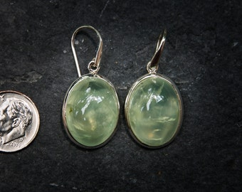 Prehnite Cabochon Earrings - Prehnite Dangle Earrings - Prehnite - Natural Prehnite Earrings - Prehnite Cabochon Earrings, Prehnite Dangles