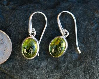 Peridot Cabochon Earrings - Peridot and Sterling Silver cab dangle earrings - Peridot Earrings - Peridot Dangles - Peridot Cabochon earrings