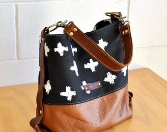 Large leather Shoulder Bag - Black and White Hobo bag - Leather bucket bag - Ethical & Organic Accessory - Handmade in Australia