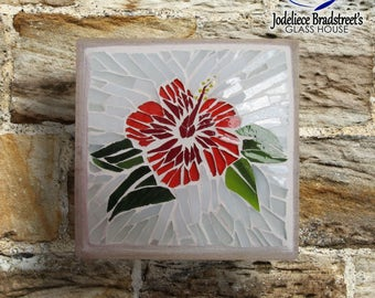 Stained Glass Mosaic Hibiscus Flower on Reclaimed Wood Base, Red, Orange, Green and White Handmade Wall Art Original Unique OOAK