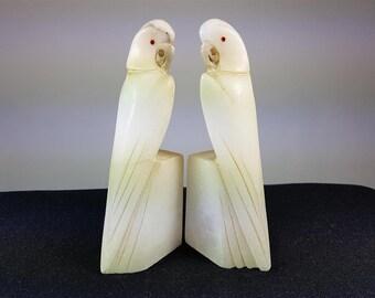 Vintage Art Deco Parrot Birds Carved Marble Bookends Set Pair 1920's
