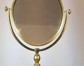 Antique Brass Vanity or Shaving Table Mirror  Late 1800's - Early 1900's