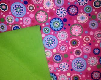 Softshell flowers colorful piece of pink fabric by the metre