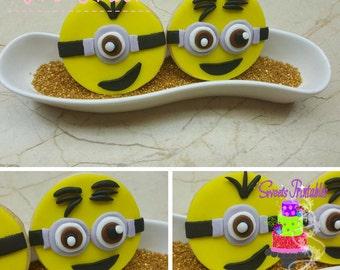"Minions Sugar Cookies 2"",Fondant Cookies, Party Favor Cookies"