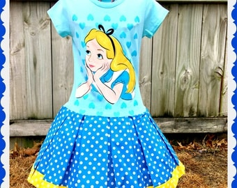 girls alice in wonderland dress 6/6x 7/8 10/12 ready to ship