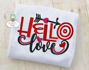 Hello Love Shirt or Bodysuit, Girl Valentine Shirt, Valentines Day Shirt, Valentines Day Outfit, Girls Heart Shirt