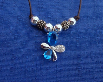 Handmade Blue Topaz Flower Leather Necklace, Silver Flower Necklace,