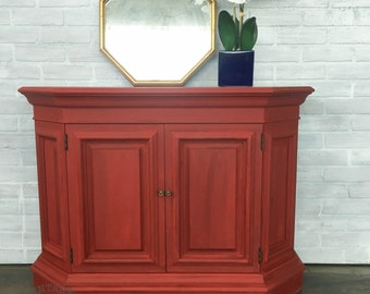 AVAILABLE: Red Painted Entry Table