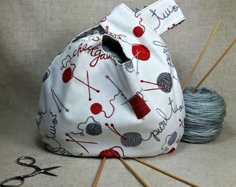 Knitting Project Bag, knitting motive, white, gray, crocheting project bag
