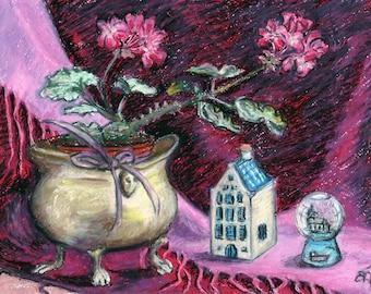 "FREE Worldwide Shipping, Original Pastel Artwork, ""Grandma's geranium"", still-life painting 11"" x 8"", Geranium, Crystal snow ball, KLM house"