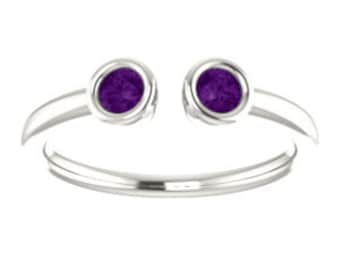 Amethyst Ring, Dual Gemstone Stacking Ring, February Birthston, Sterling, 14K, 18K, or Platinum
