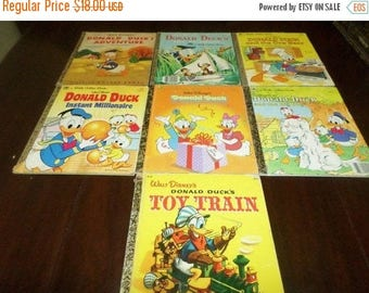 Save 25% Now Collection of Seven Vintage LGB Little Golden Books All Walt Disney Donald Duck Lot 34
