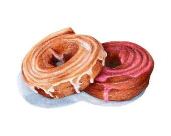 Pair of Doughnuts // Food Illustration // Art print for bakery