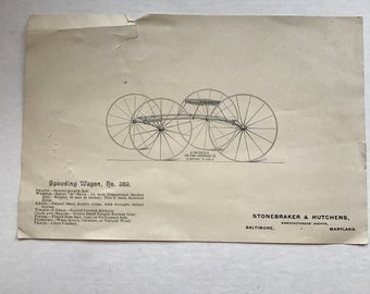 Vintage Transportation Speeding Carriage/Wagon Book Plate Illustration