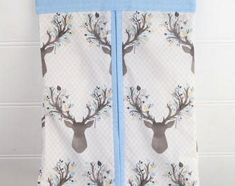 Nappy Stacker - Diaper Stacker with Blue Deer Head Print