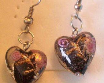 Black Heart Earrings! ~ Pink Swirls and Gold Dust! ~ Just 6.99
