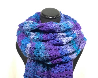 Blue and Purple Striped Oversized Crochet Scarf